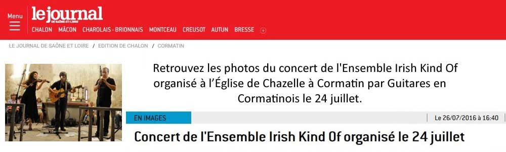 Concert de l'Ensemble Irish Kind Of organisé le 24 juillet